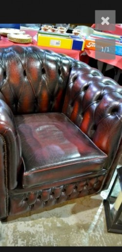 As new chesterfield large studded  chair