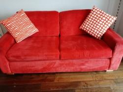 Red Velvet Sofa & Chair for Sale