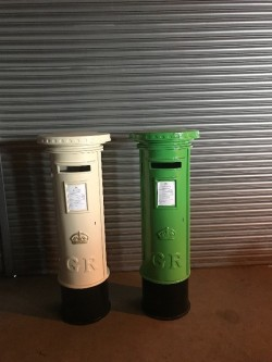 Two Replica Full Size Wooden and PVC Royal Mail Postboxes For Sale