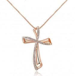 Buy Cross Rose Gold Pendant online - Eva Victoria