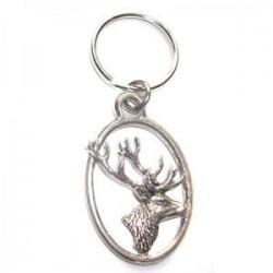 Pewter Keyring - Deer Stag Head
