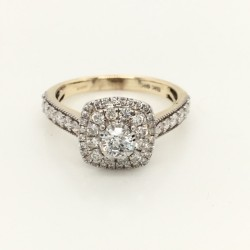 Square Double Halo Style Solitaire Ring .80ct