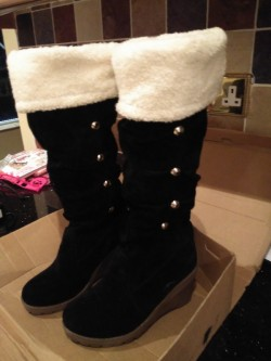 Brand New Black Suede Boots with Wedge