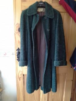 WOMAN'S GREEN WOOL LONG COAT, VINTAGE, RODEX OF LONDON  SIZE 12-18