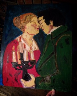 The kiss painting on board