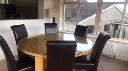 Round Oak Glass Top Table & 6 Brown Chairs *Excellent Condition* for sale