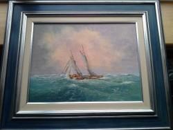 John Manson Otiginal Oil Painting, Signed, Framed, Rough Sea