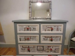 Up-cycled Chest Of Drawers with  Mirror  for sale