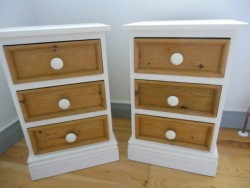 3 Drawer Cream/Pine Bedside Lockers for sale