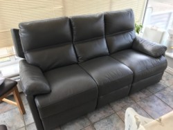 Grey leather Sofa & Armchair for sale