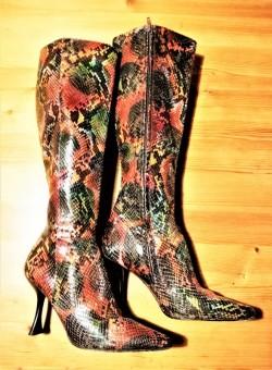 Charles Jourdan Red Snake Skin Heeled Boots