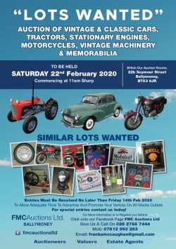 Vintage/Classic Auction Saturday 22nd February 2020