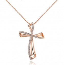 Buy Cross Rose Gold Pendant online - Eva Victoria