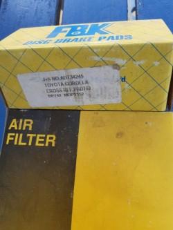 Brake pads and air filter