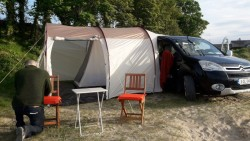 Tent tailgate or attach to van or car.