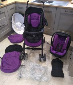Silvercross Travel System in Purple and Black
