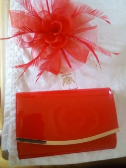 Matching clutch bag and fascinator