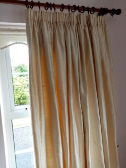 Cream Dupioni Silk Curtains Thermal lined 3 Sets