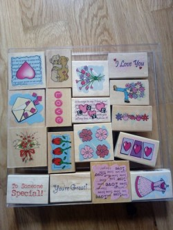 Craft rubber stamps wooden backed