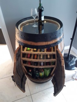 Oak Barrel Wine Rack Cabinet