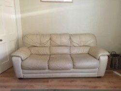 3 and 2 seater cream leather sofas