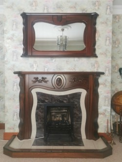 Wooden Fireplace & Matching Mirror