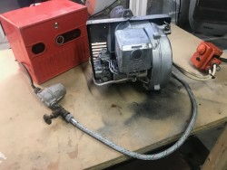 Burner and pump for oil heating