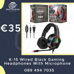 K-15 Wired Black Gaming Headphones With Microphone
