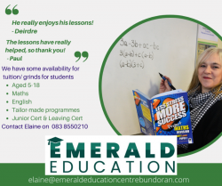 English and Maths Tuition/Grinds, County Donegal