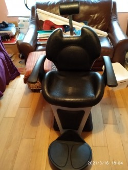 Adjustable leather barbers chair