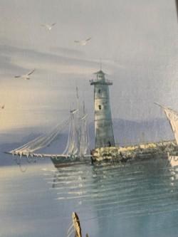 Harbour Scene framed oil painting