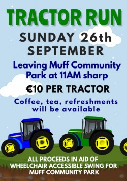 Tractor Run 26th September in aid of Wheelchair Accessible Swing