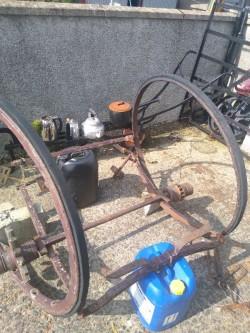 Dog cart irons and wheels