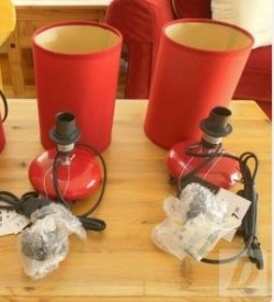 2 Red Table Lamps.
